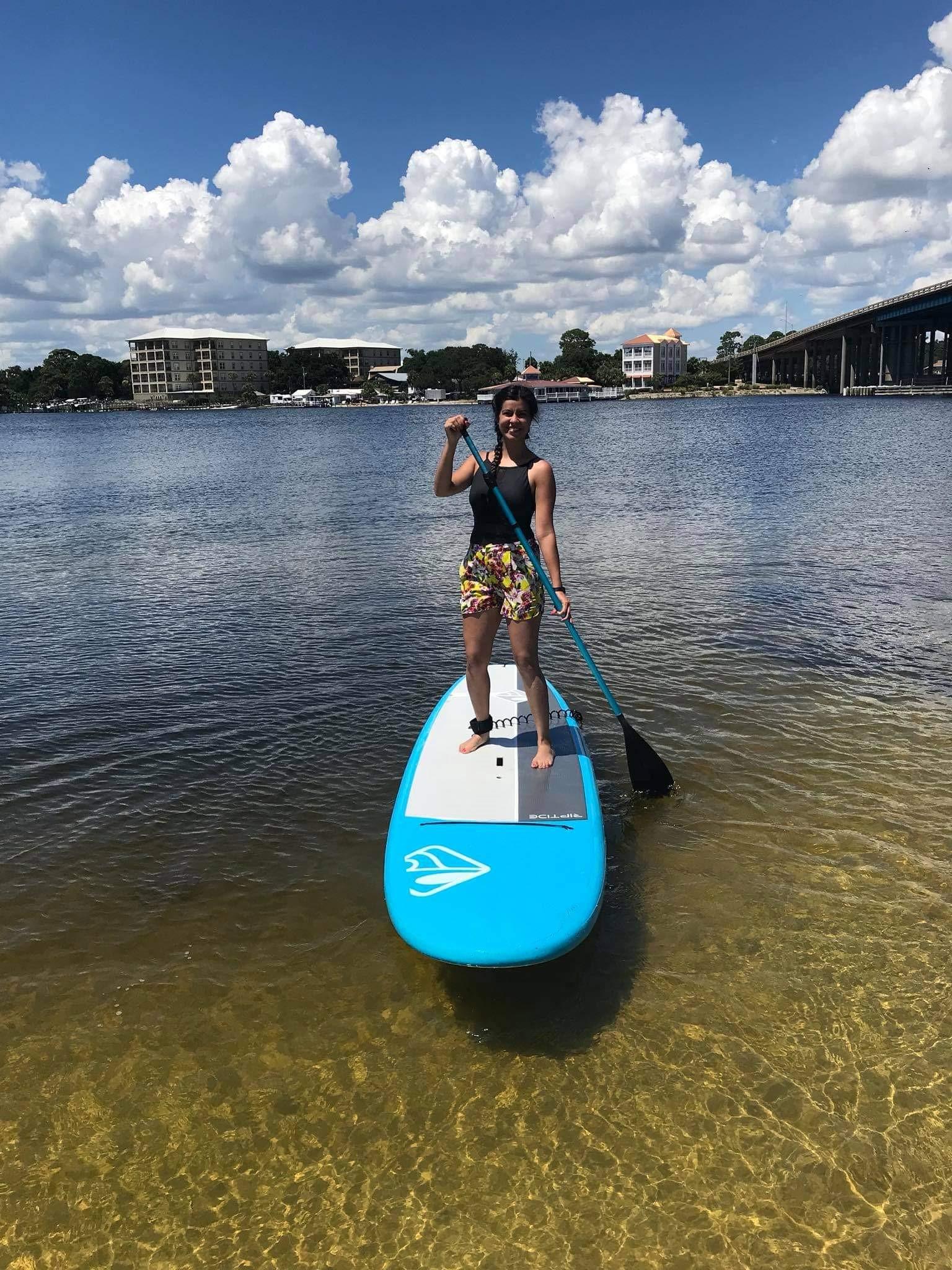 Gaby Bermudez paddleboarding