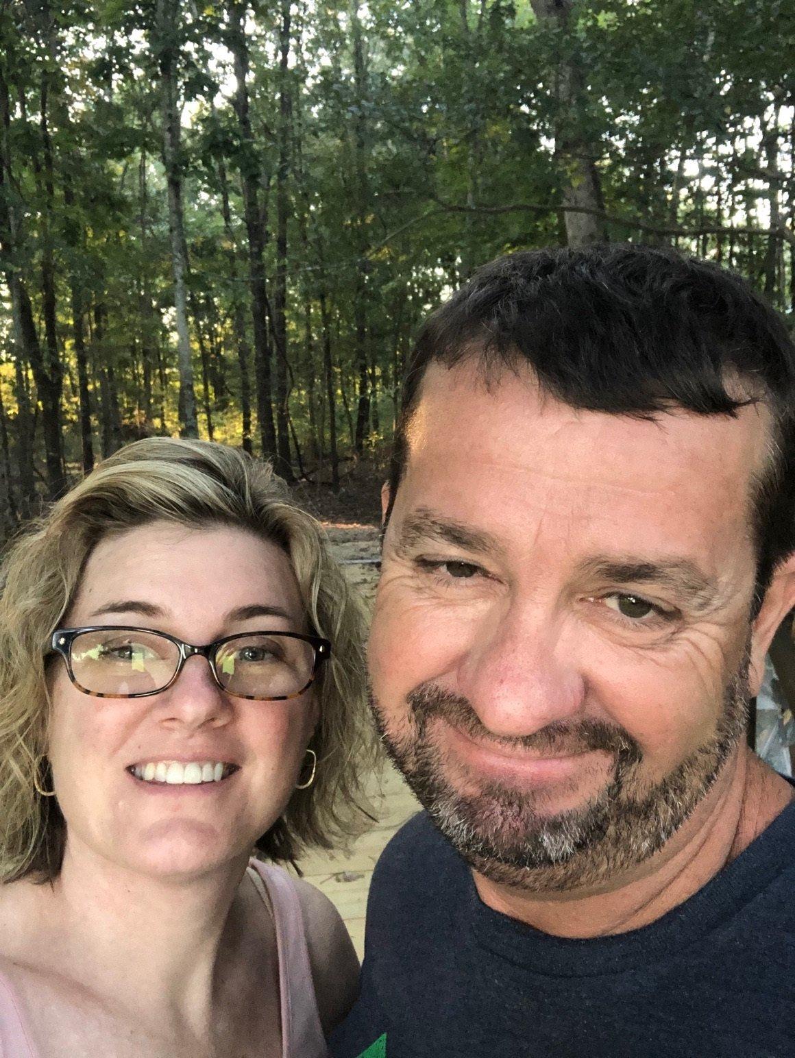 Sarah Stokes with her husband, Chris