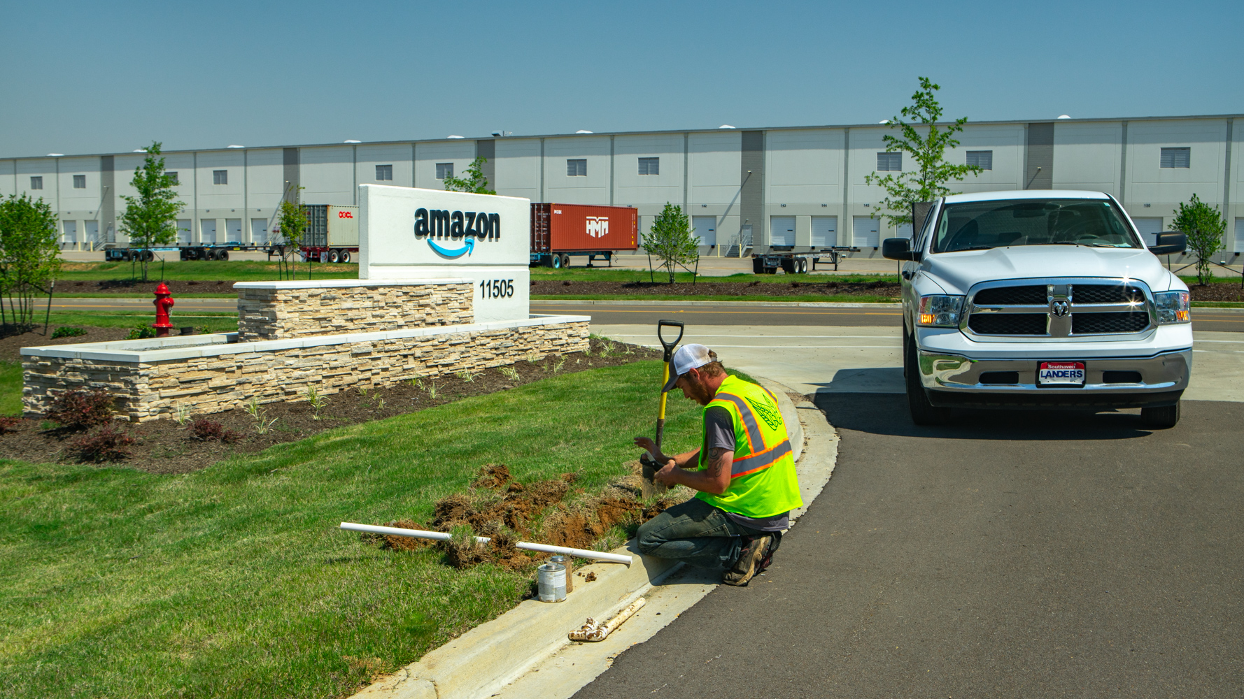 Commercial landscaping Amazon Warehouse irrigation repair 5