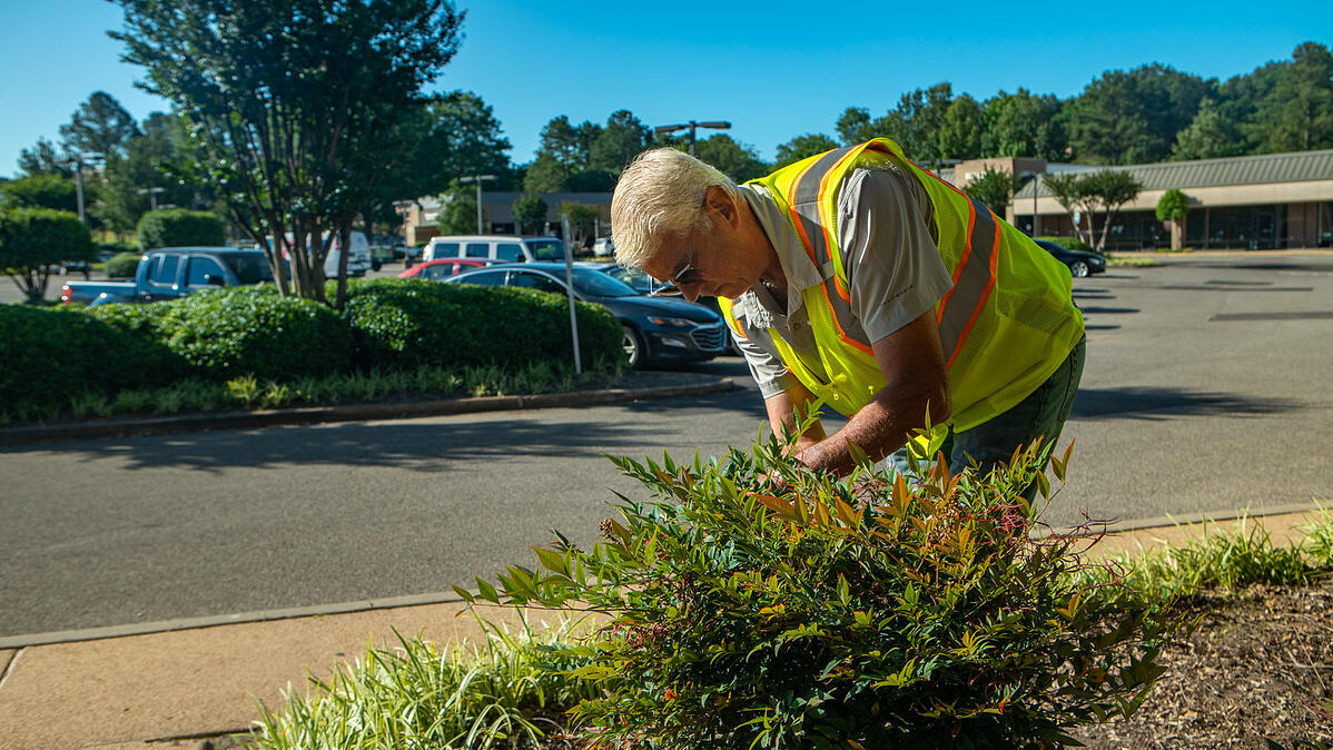 lawn care professional prunes plants for safety at industrial property