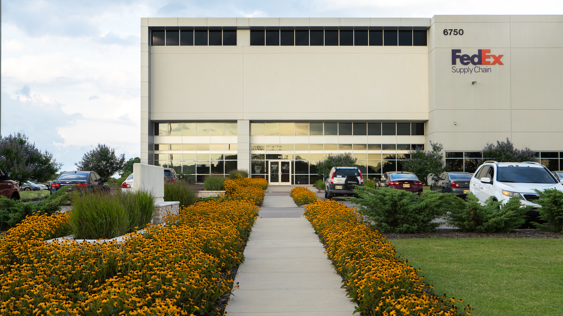 Industrial park landscaping at Legacy Park in Olive Branch, MS