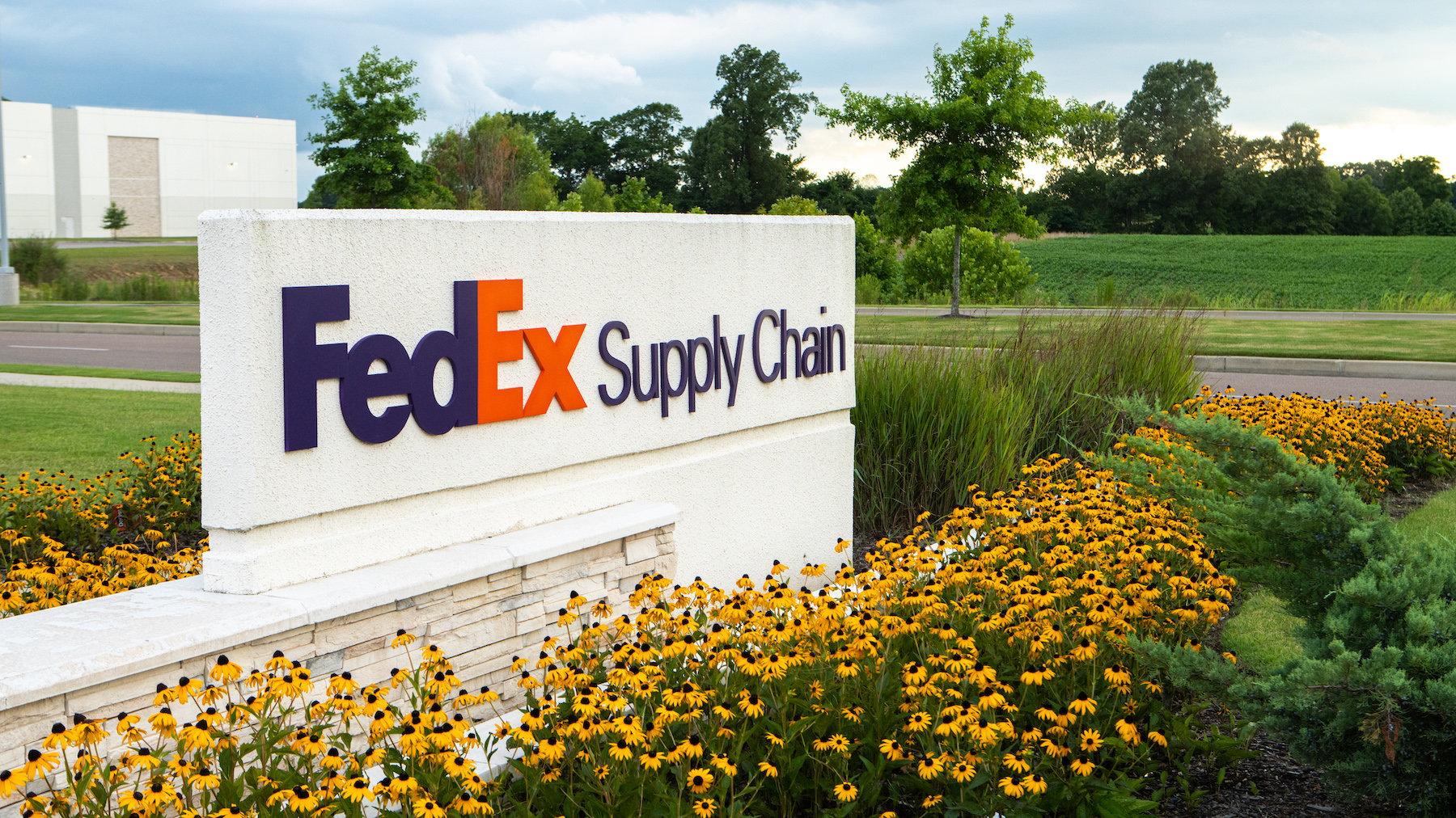 Legacy Park FedEx Warehouse sign and landscape
