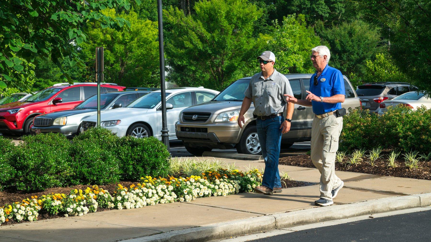 Rick Tarr and Alex Moore meeting on Dogwood Creek Senior Living property