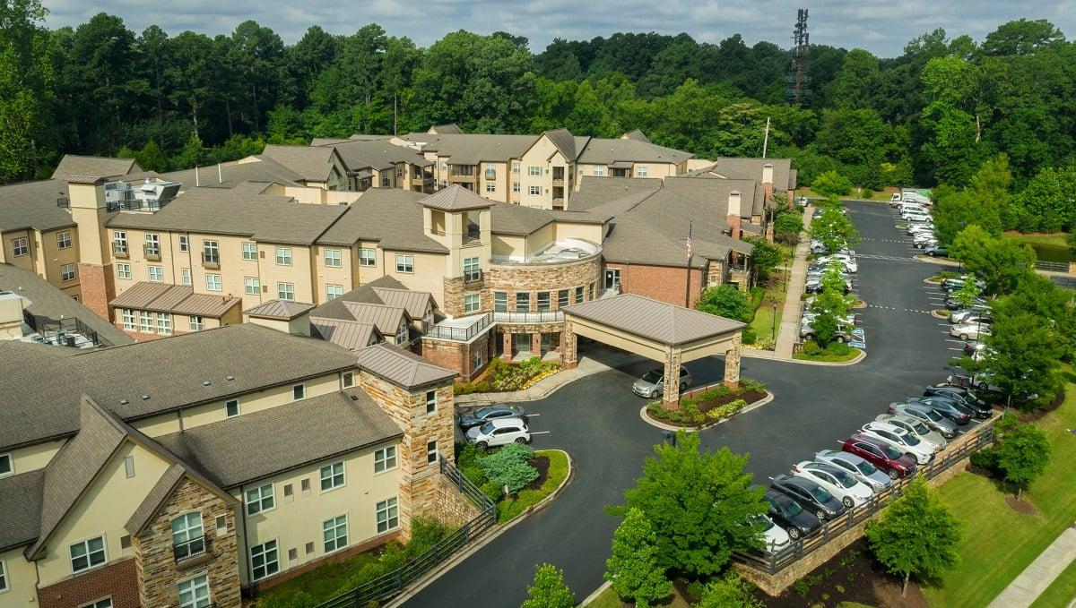 aerial view of retirement community landscape