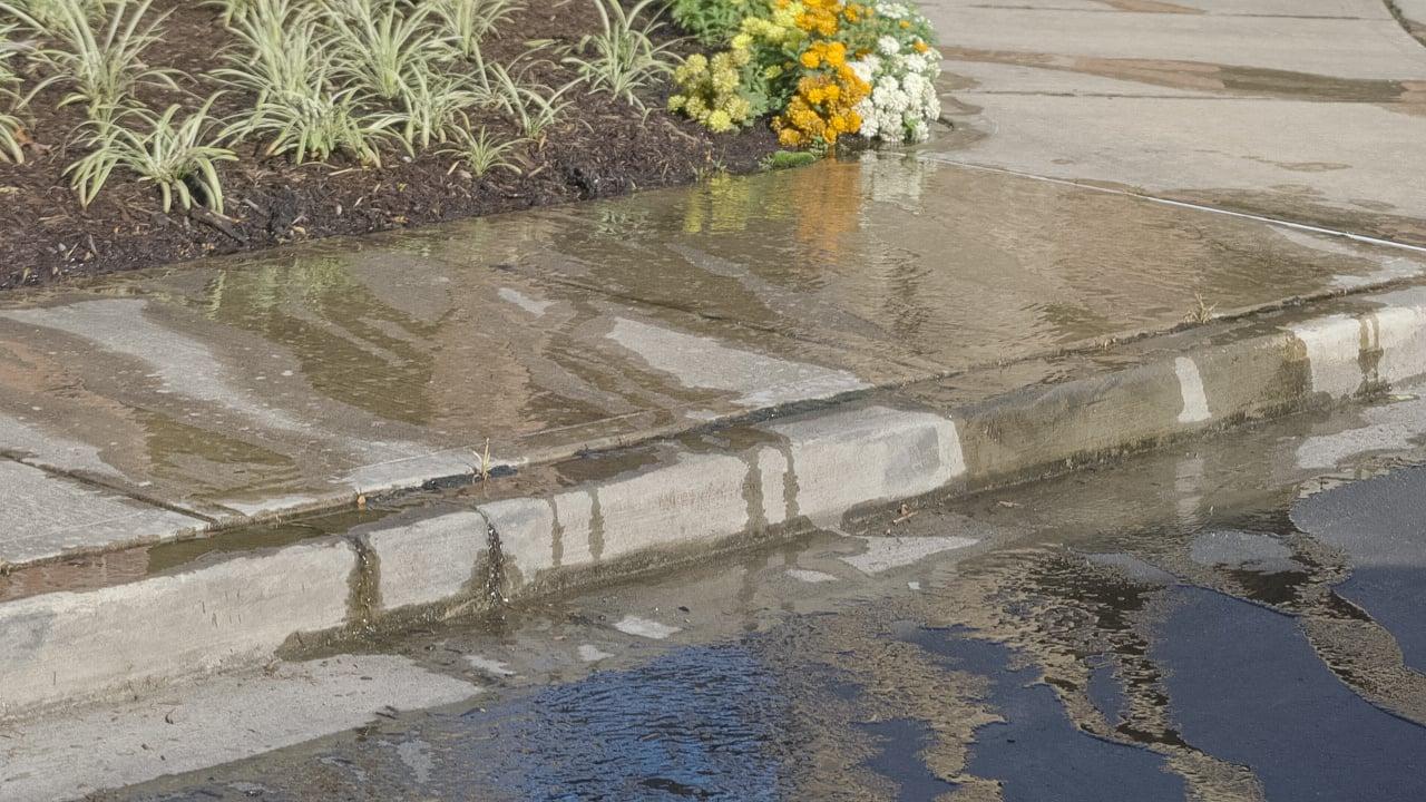broken irrigation leak on commercial property