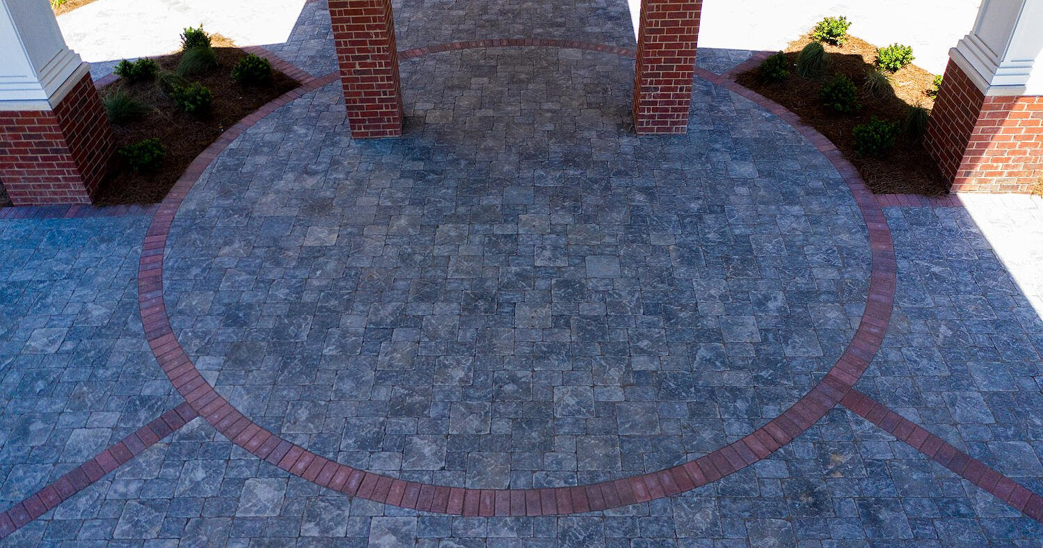 Pavers at the entrance of a senior living facility