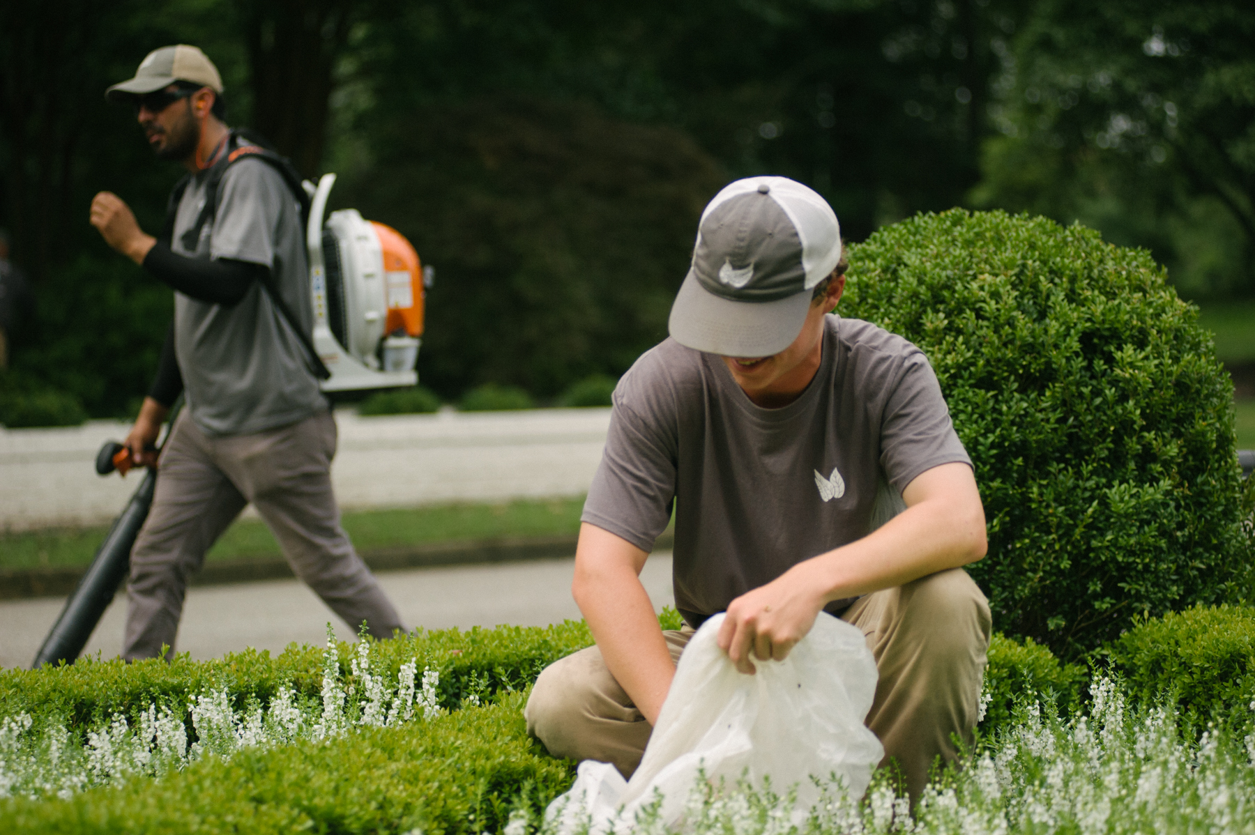 Hospital landscape maintenance technicians