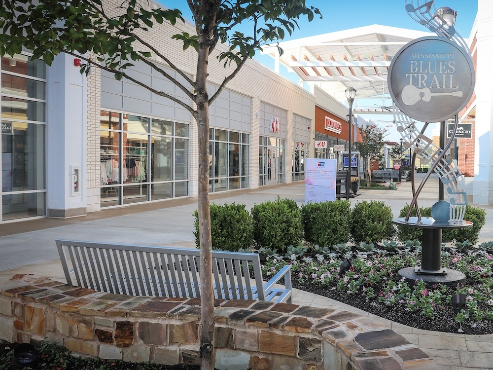 shopping center with nice commercial landscaping