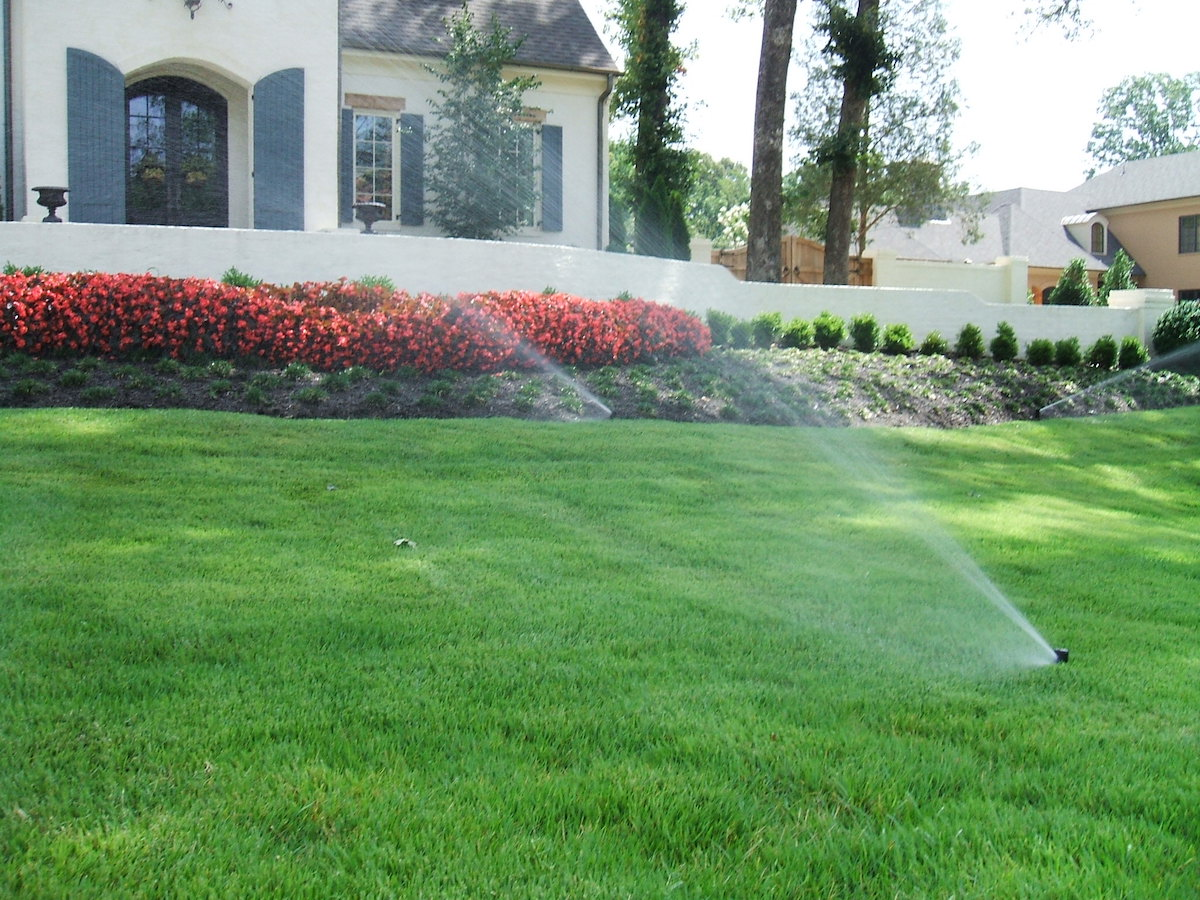lawn irrigation running
