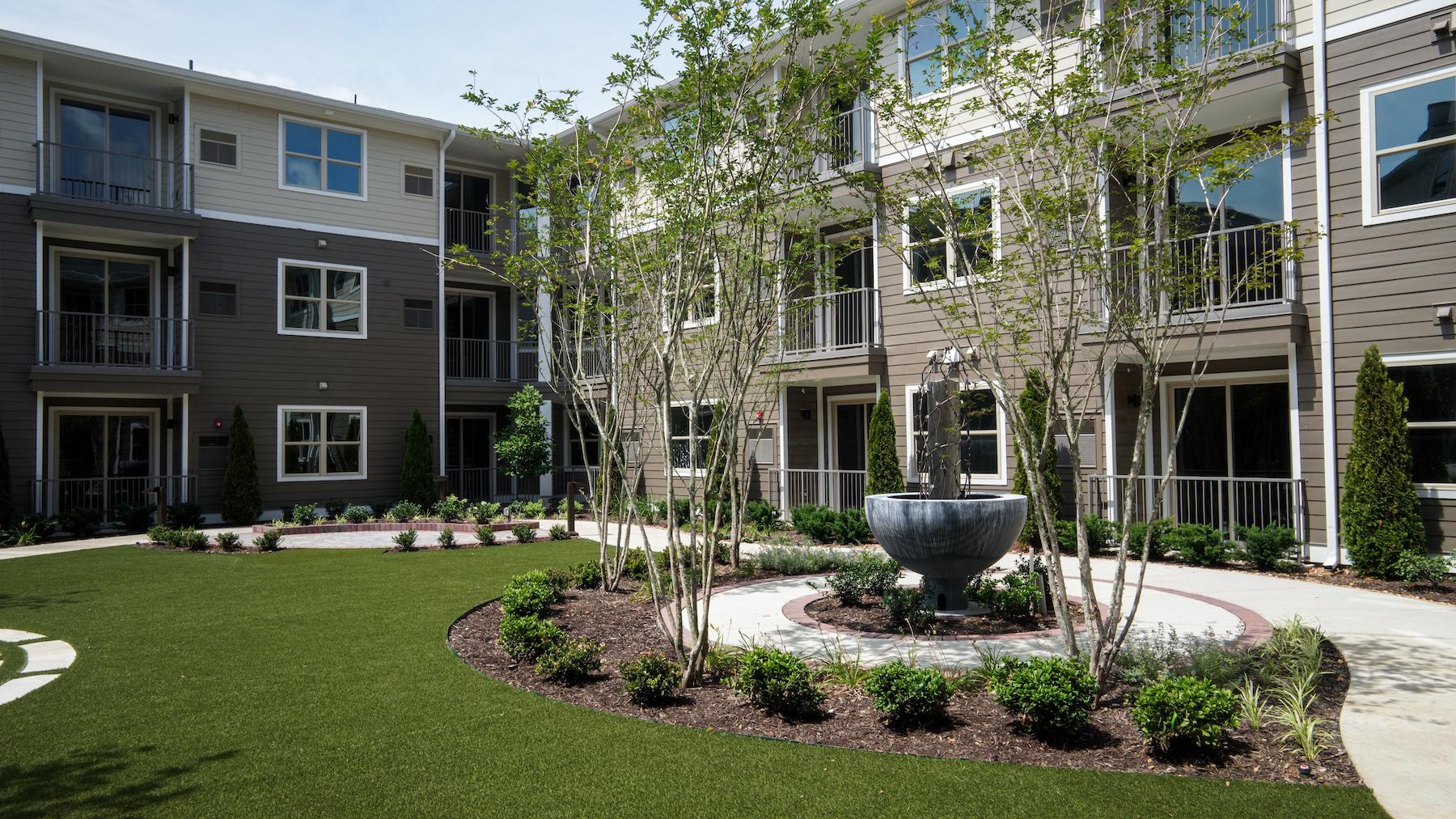 Senior living community landscape and pathway