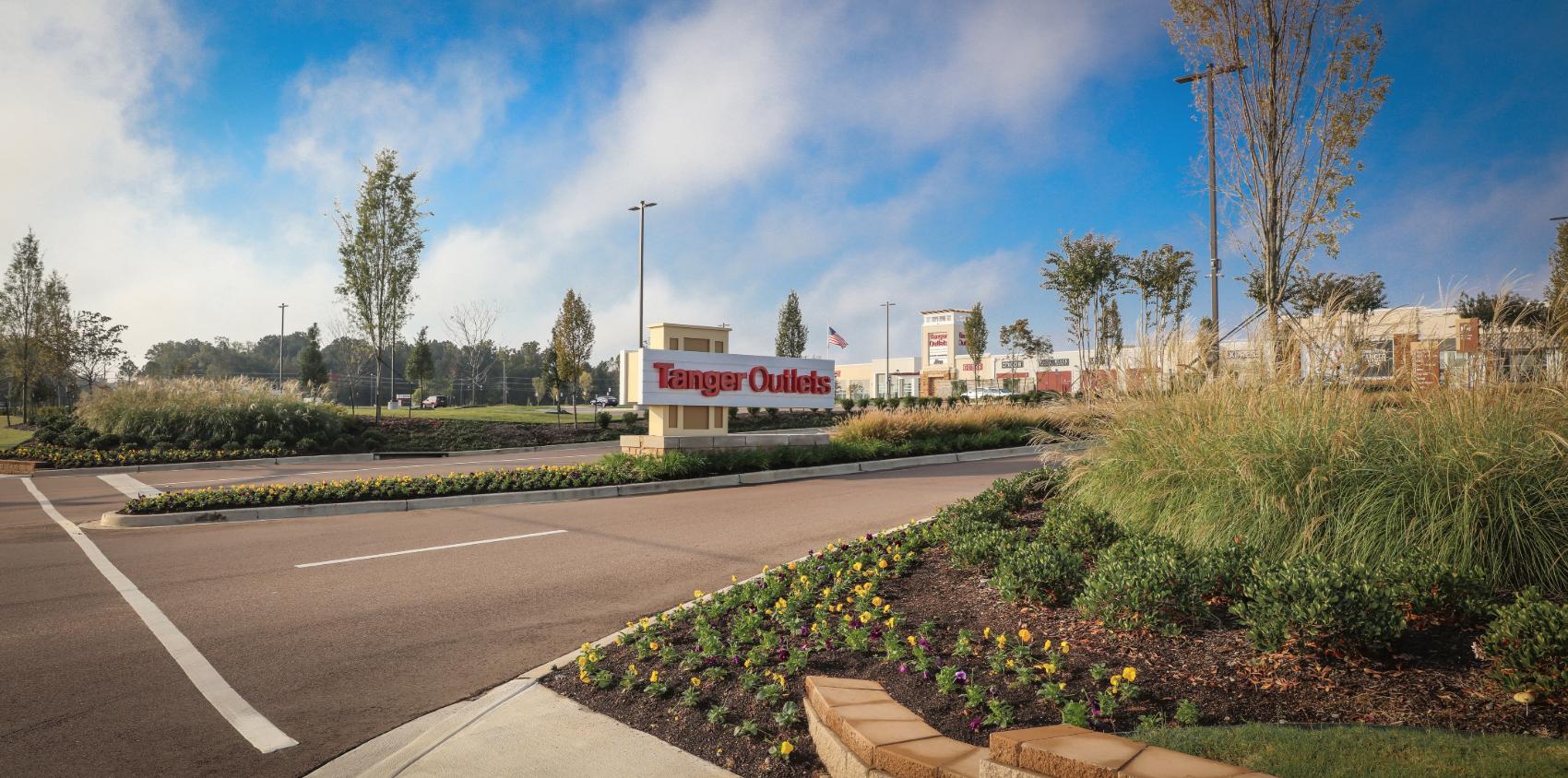 Shopping center entrance landscape